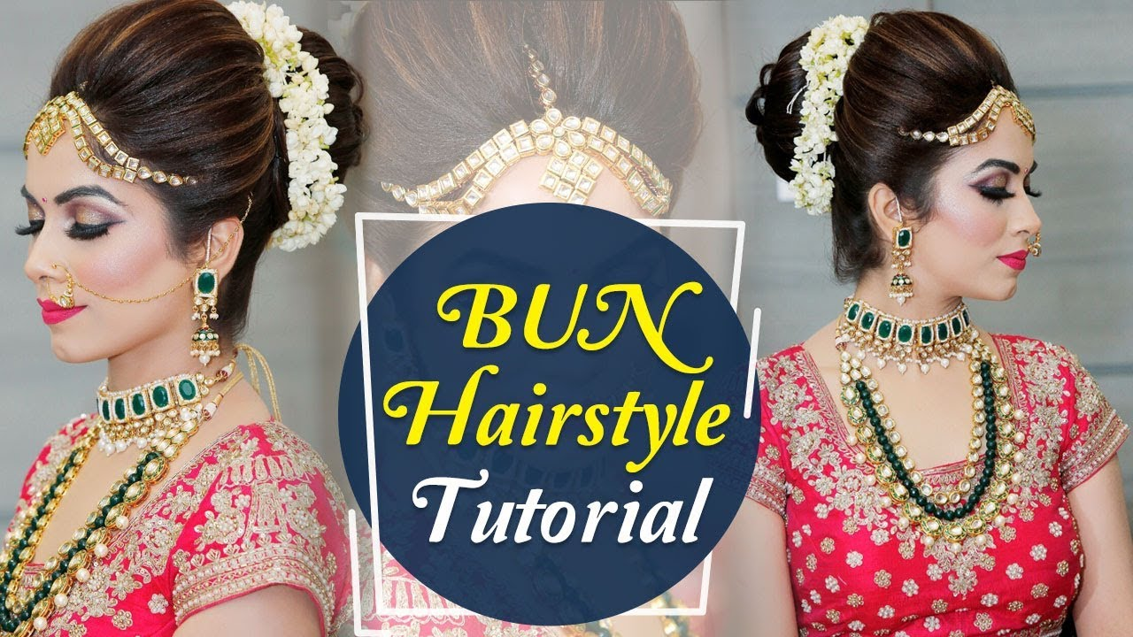 bun hairstyle tutorial | step by step indian bridal hairstyle tutorial  video | krushhh by konica