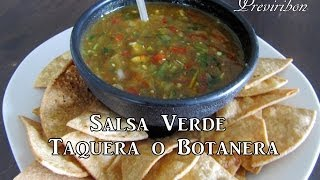 Salsa Verde Taquera O Botanera *video 171*