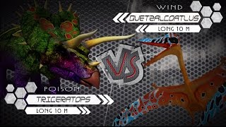 Triceratops VS Quetzalcoatlus Dino Colosseum. The fighting in a fie...
