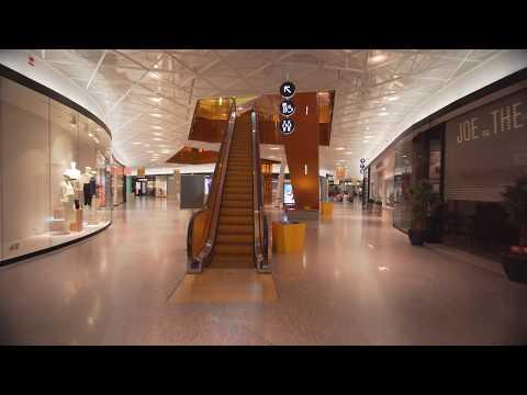 Sweden, Malmö, walking around in Emporia Mall after hours, 1X elevator, 1X escalator
