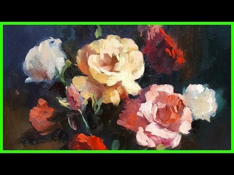 Живопись маслом Мастер-Класс Как нарисовать цветы Розы +79857776200