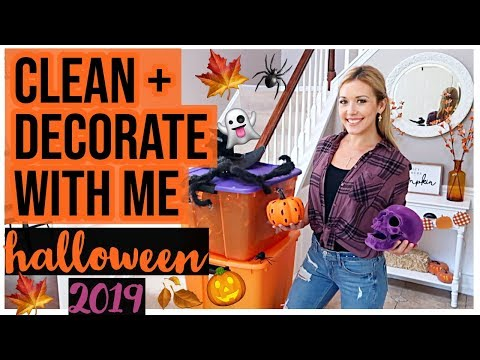 NEW CLEAN + DECORATE WITH ME HALLOWEEN FALL 2019 DECOR HOUSE TOUR! CLEANING MOTIVATION | Brianna K