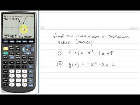 Finding The Vertexmaximumminimum Of A Quadratic Function Using The