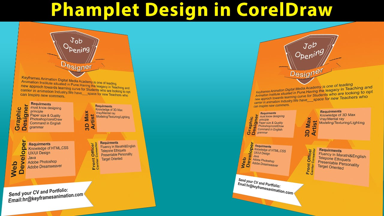 pamphlet design in corel draw introduction youtube