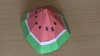 как сделать арбуз из бумаги. Оригами