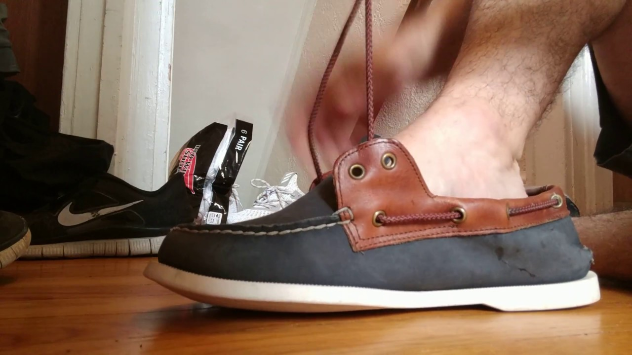 4ca28e3b207 Putting The Vans Laces In My Friend s Sperry TopSiders Boat Shoes With The Sperry  Tool.
