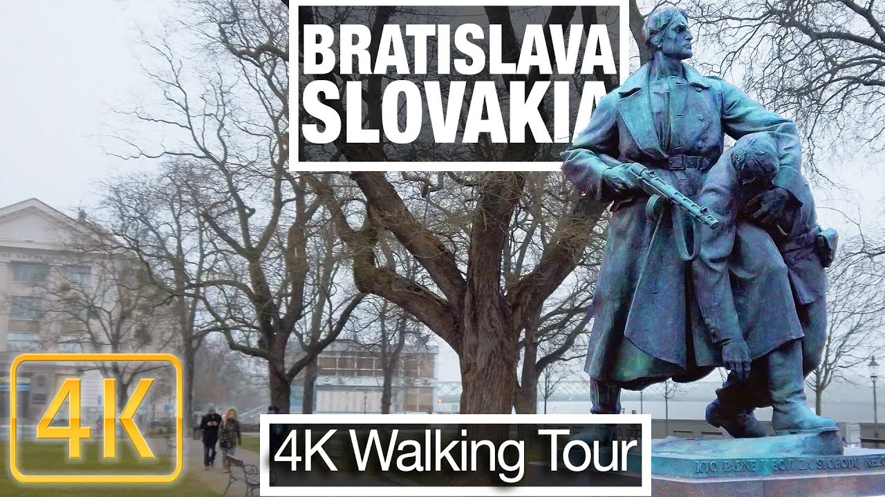 4K City Walks:  Bratislava Slovakia - River Walk - Virtual Treadmill Scenery workout video