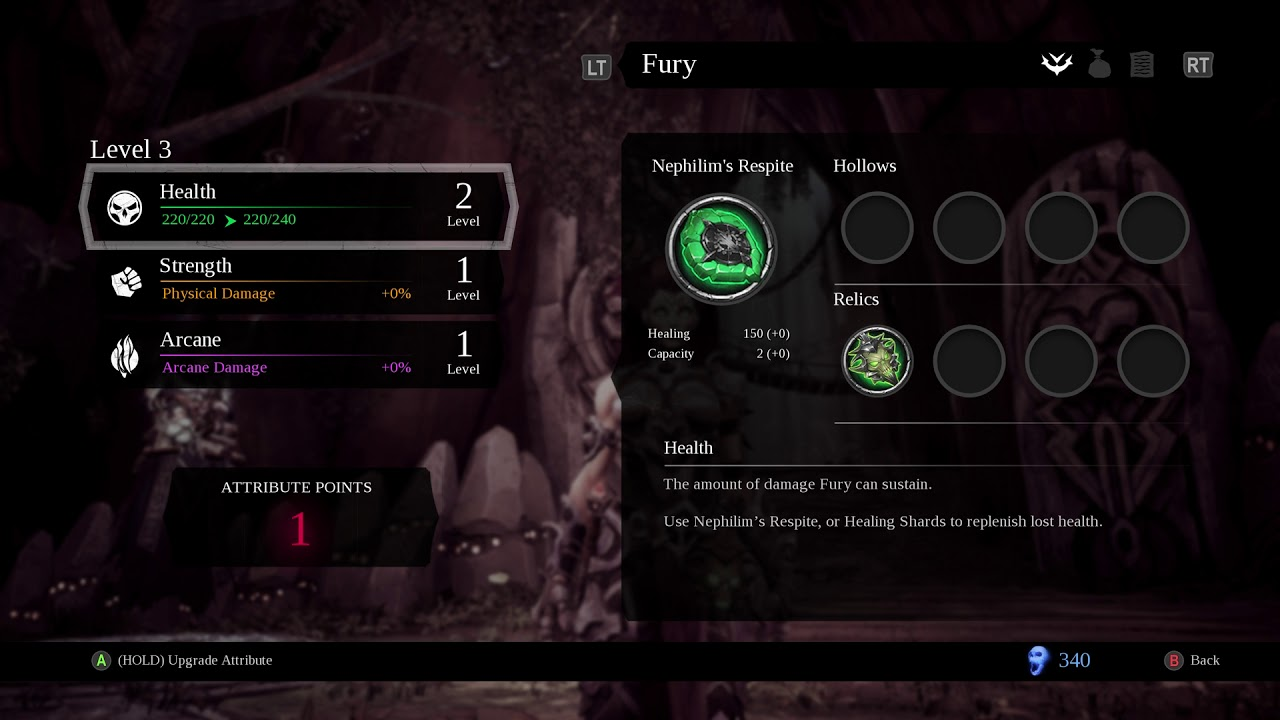 Darksiders 3 - Maker's Forge: Attribute Points Added To Health & Strength  Xbox One X Gameplay (2018)