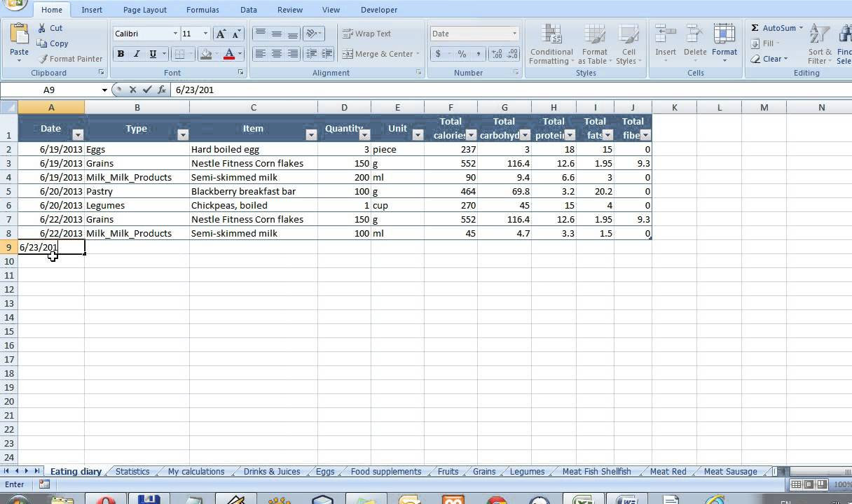 Eating diary - how to save the food into the database ...