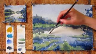 Intermediate step by step watercolor tutorial: Painting a Lake