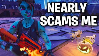 Scammer was an inch away from scamming me! 😳 (Scammer Get Scammed) Fortnite Save The World