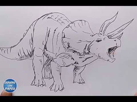 """Very Easy!! How to Drawing """"Ceratopsia Dinosaurs"""" Cartoon for kids - Drawing doodle art"""
