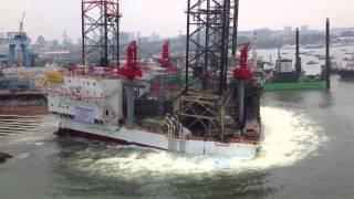 gulf drilling international jackup rig launching