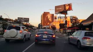 Los Angeles Driving Tour: Sunset Strip During Sunset and Hollywood Walk of Fame Drive Through 2017