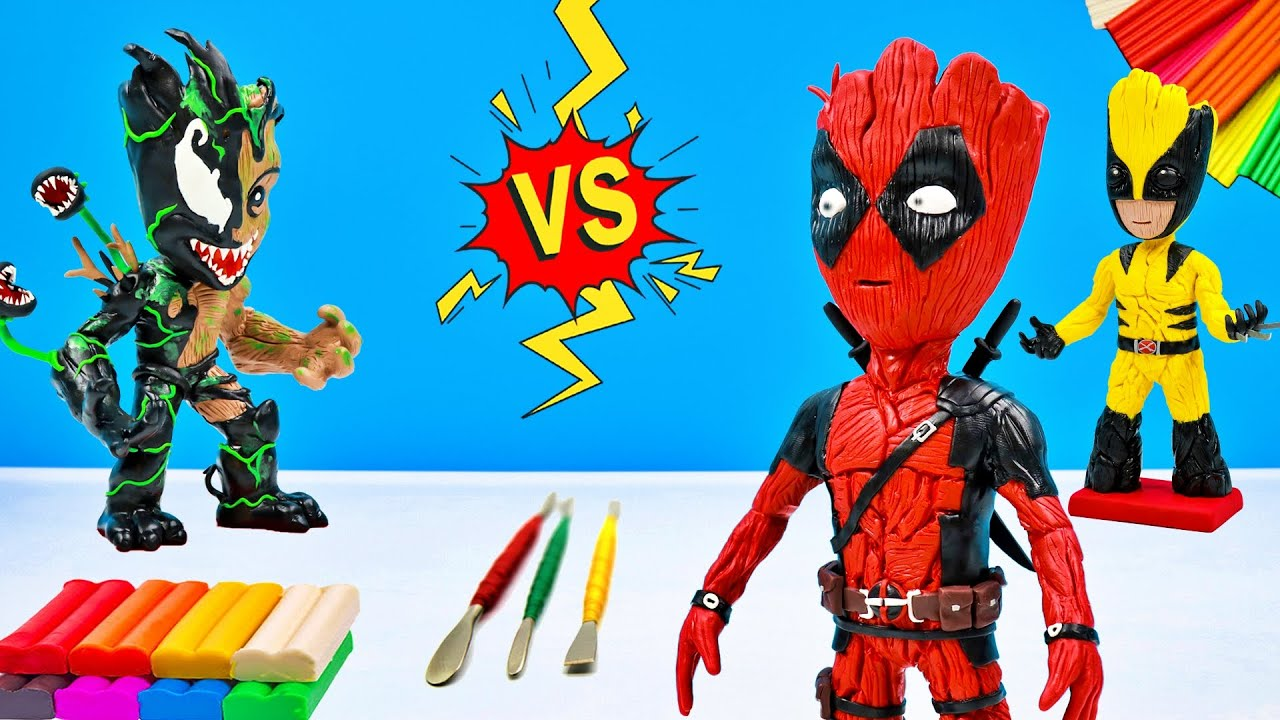 Making Groot mixed Deadpool with clay 🎤 Superheroes Marvel 🎤 Polymer Clay Tutorial