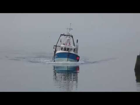 Trawler Fishing Boat Enters Port Seton Harbour Edinburgh Scotland UK