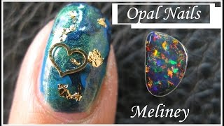 NO TOOLS OPAL NAIL TUTORIAL | BLACK OPAL NAIL ART DESIGN WITH GOLD FLAKES AND METAL SLICES