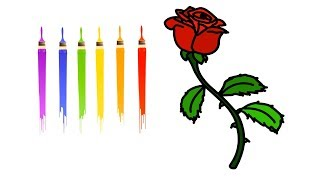 How to Drawing Rose Flower Coloring Learn Easily Step by Step for Kids    Little Channel    Rose