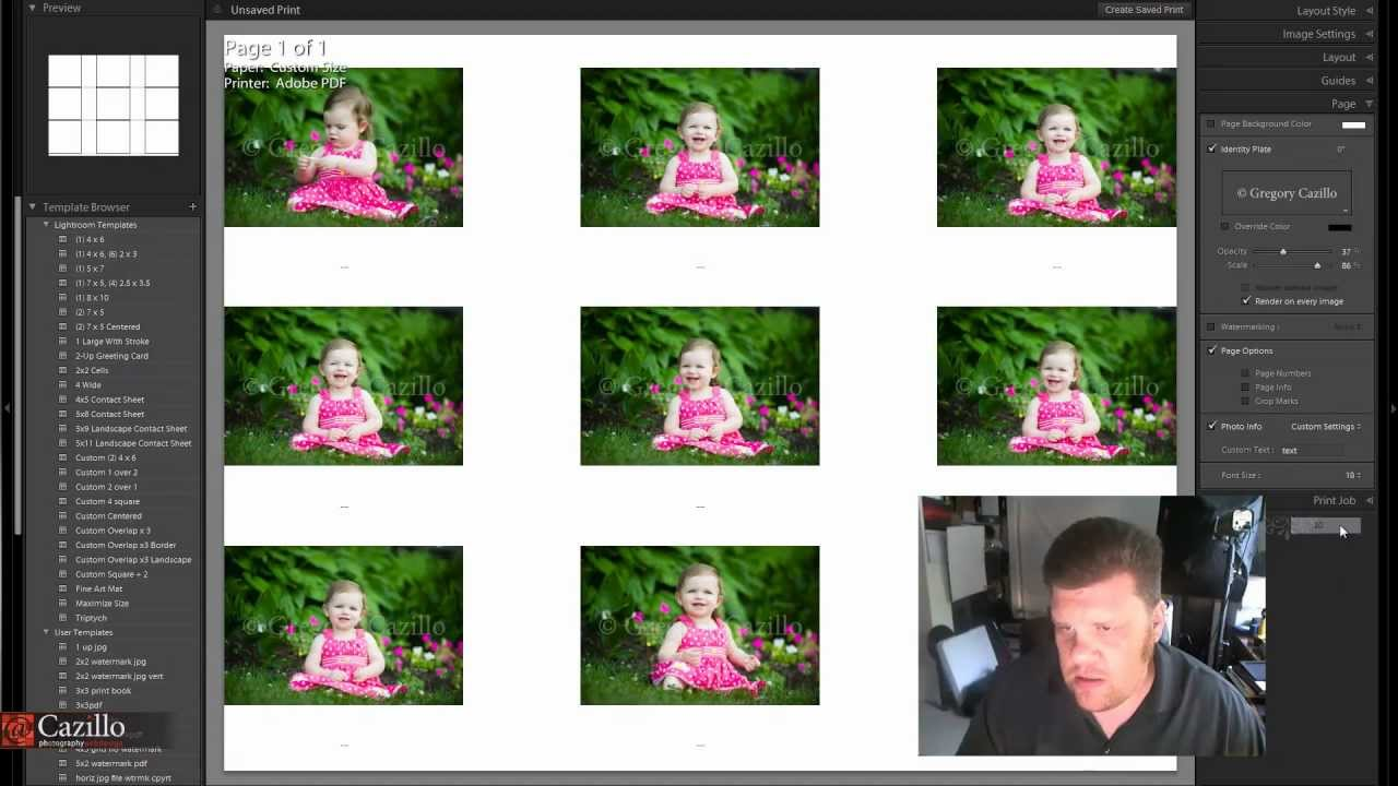 how to create a contact sheet in lightroom