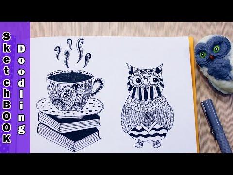 DIY: Рисую в технике дудлинг ЧАШКА КОФЕ и СОВА ● Скетчбук, SketchBOOK Doodling