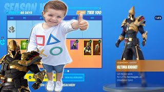 TRUMAnn Gives *5 YEAR OLD KID* 'ULTIMA KNIGHT' MAX TIER 100 OUTFIT With FREE Fortnite V-Bucks!!