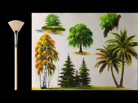 How to paint trees with fan brush -  Acrylic lesson