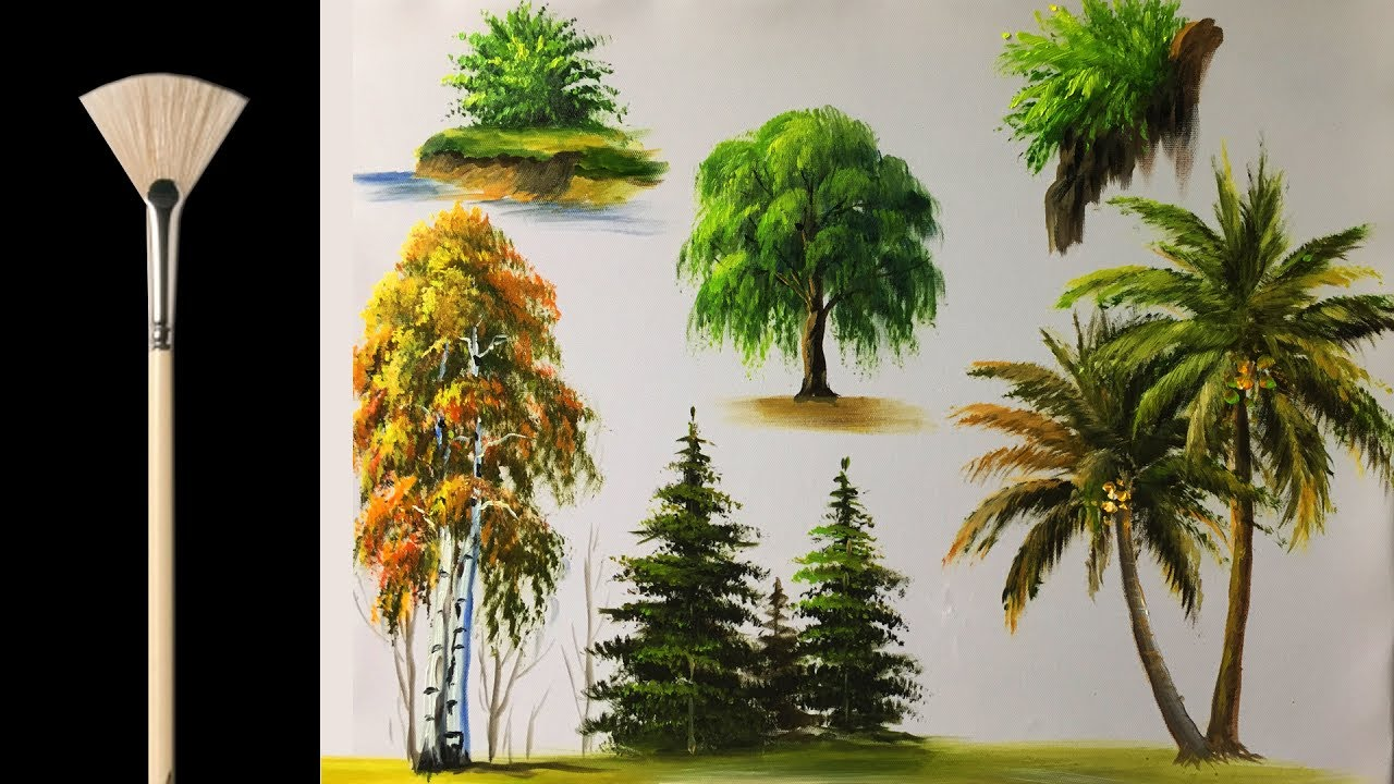 how to paint trees with fan brush acrylic lesson youtube. Black Bedroom Furniture Sets. Home Design Ideas