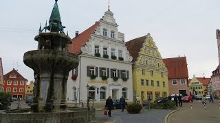 Nordlingen, Germany - Old town area (medieval) with intact wall still standing