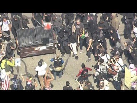 Pro- and anti-Trump protesters clash in Berkeley