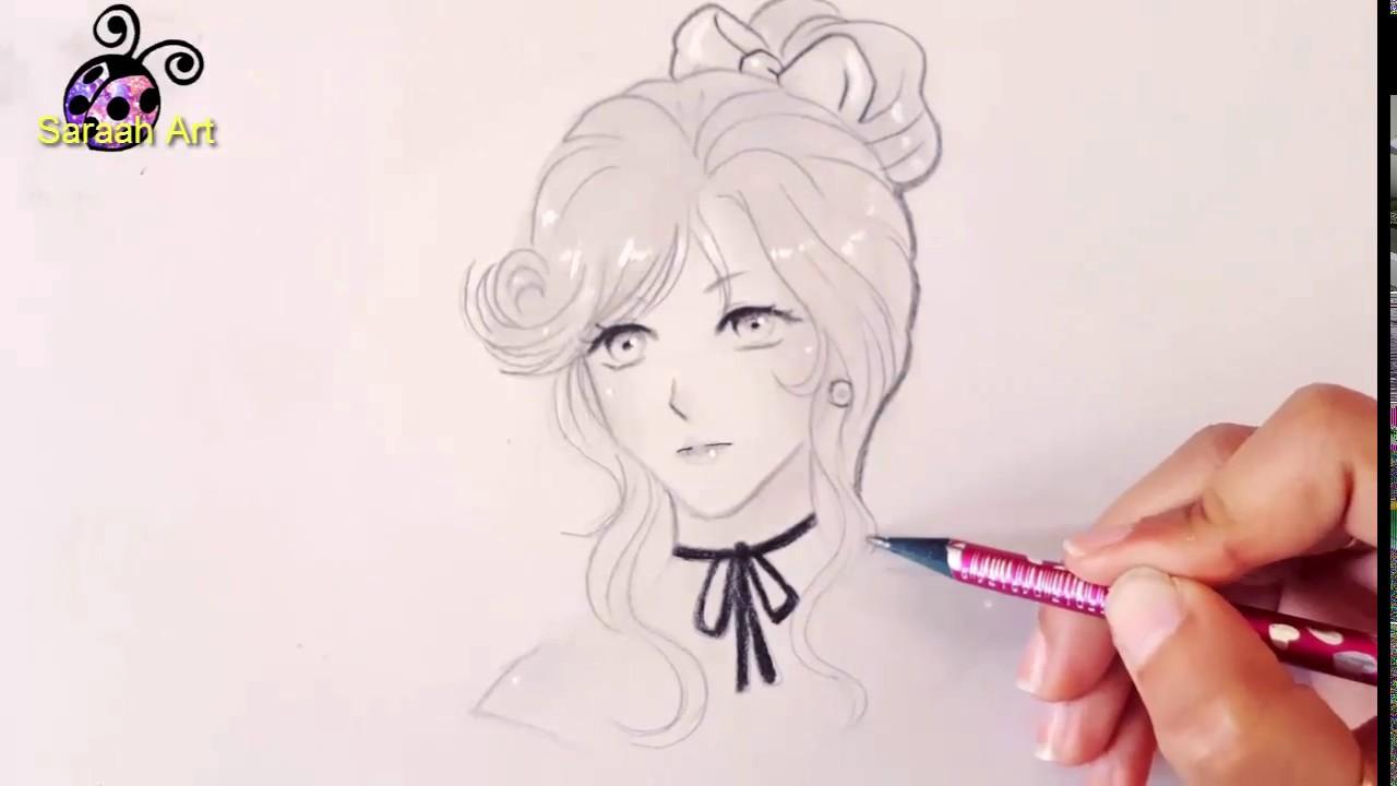 رسم بنت انمي كيوت Cute Anime Girl Drawing Youtube