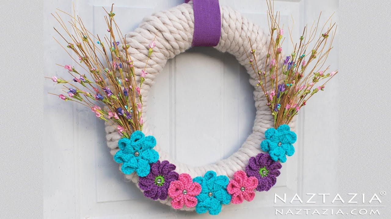 yarn wrapped wreath with crochet flowers diy home decor flower yarn wrapped wreath with crochet flowers diy home decor flower wrap tutorial