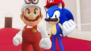 Sonic and Fire Mario in Super Mario Odyssey
