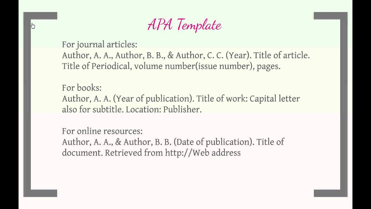 Apa format works cited website