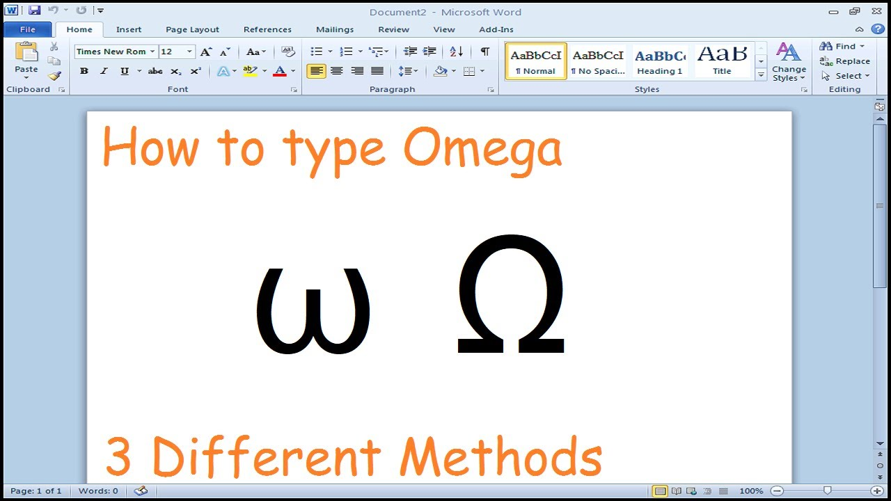 How To Type Omega Symbol Microsoft Word Youtube
