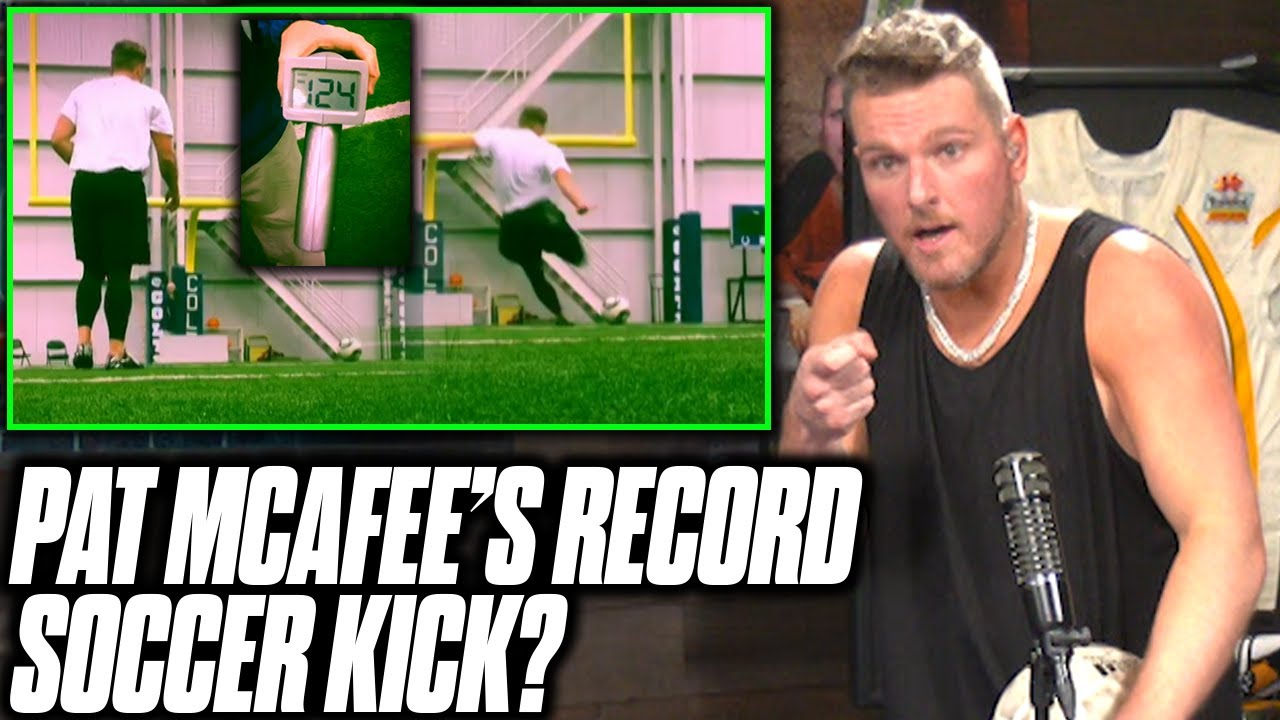 Pat McAfee Reacts To His Record Fastest Soccer Kick (124 MPH)