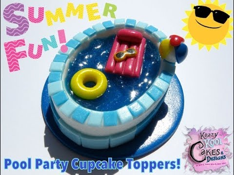 How To Make Pool Party Cupcake Toppers Youtube