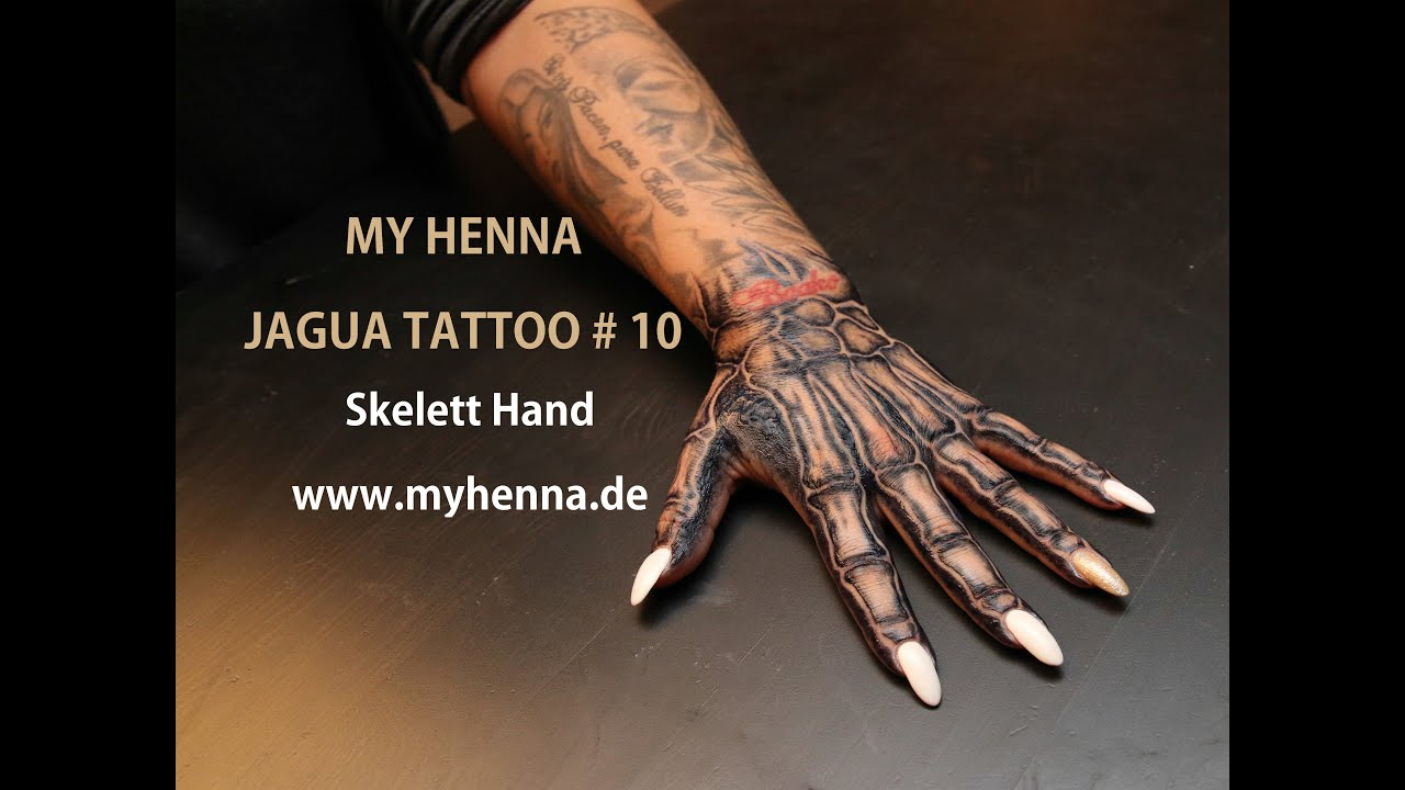 my henna jagua tattoo 10 skelett hand youtube. Black Bedroom Furniture Sets. Home Design Ideas