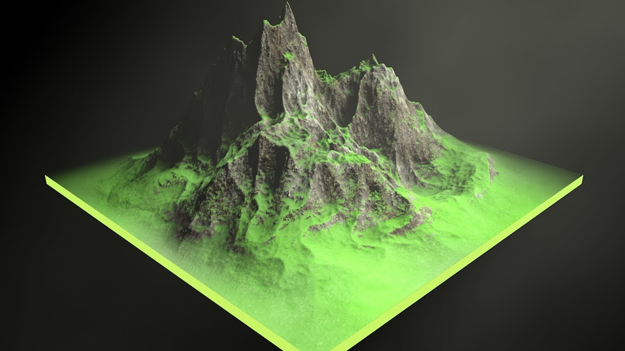 Mix Rock and Grass to Create a Mountain Scene in C4D