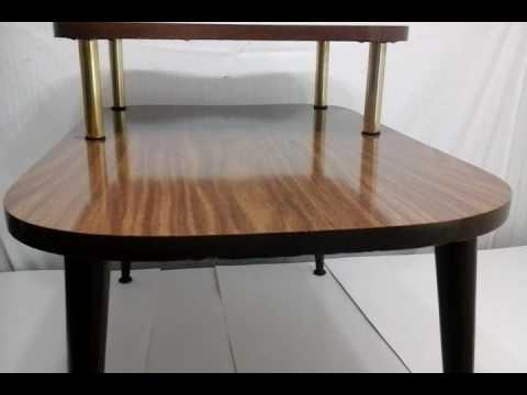 VINTAGE 60u0027s 70u0027s RETRO 2 TIER WALNUT LAMP END TABLE TV LIVING ROOM BEDROOM