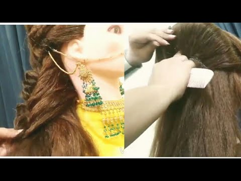 Side puff hairstyle,hair styles,side puff,open hair styling,zigzag puff,how to thumbnail