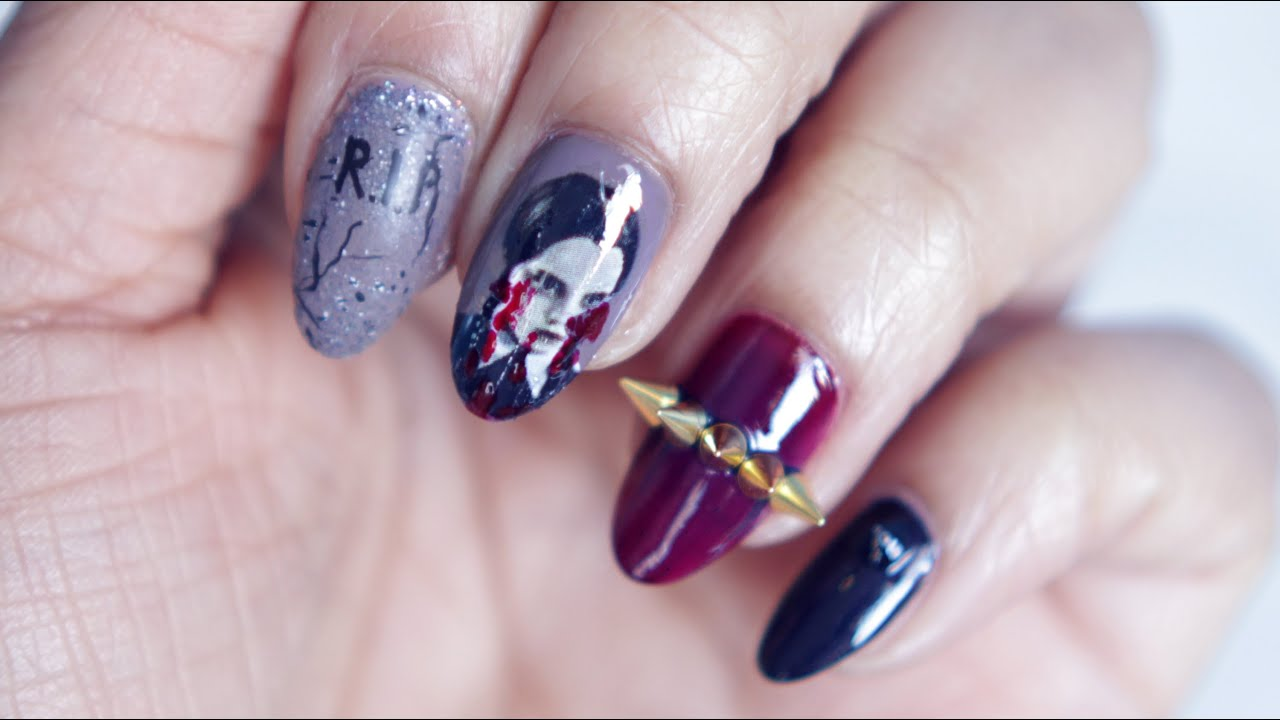 HALLOWEEN | Wednesday Addams Nail Art - YouTube