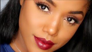 Soft Bronze Makeup Tutorial with Statement Lip   Ellarie