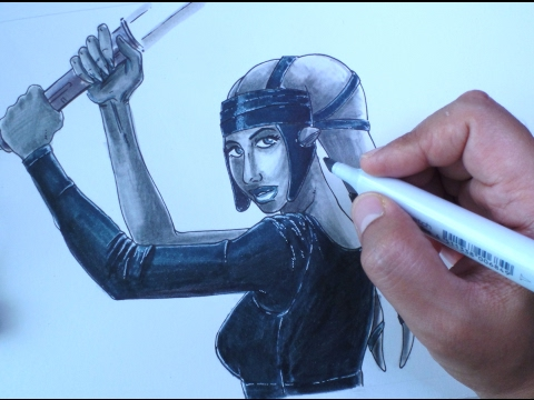 How to Draw a Jedi Knight: Aayla Secura (Time-lapsed)