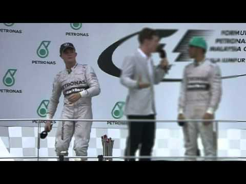 Nico Rosberg Juggle Microphone After Malaysian GP