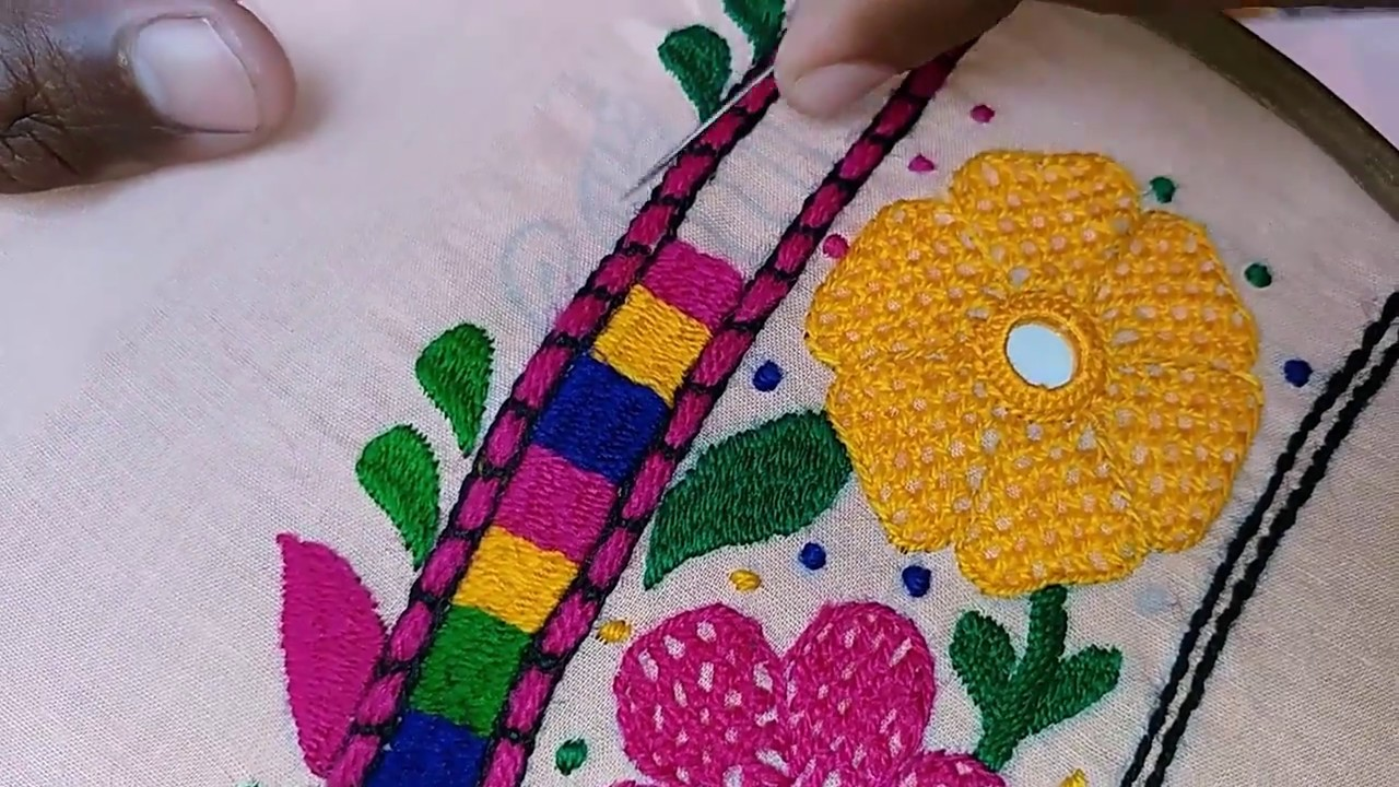 Hand embroidery butterfly design leaf stitch part