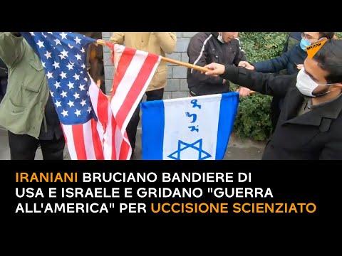 Iraniani Bruciano Bandiere Di Usa E Israele E Gridano
