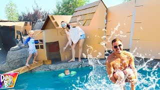 Giant Box Fort Backyard Waterpark Prank!