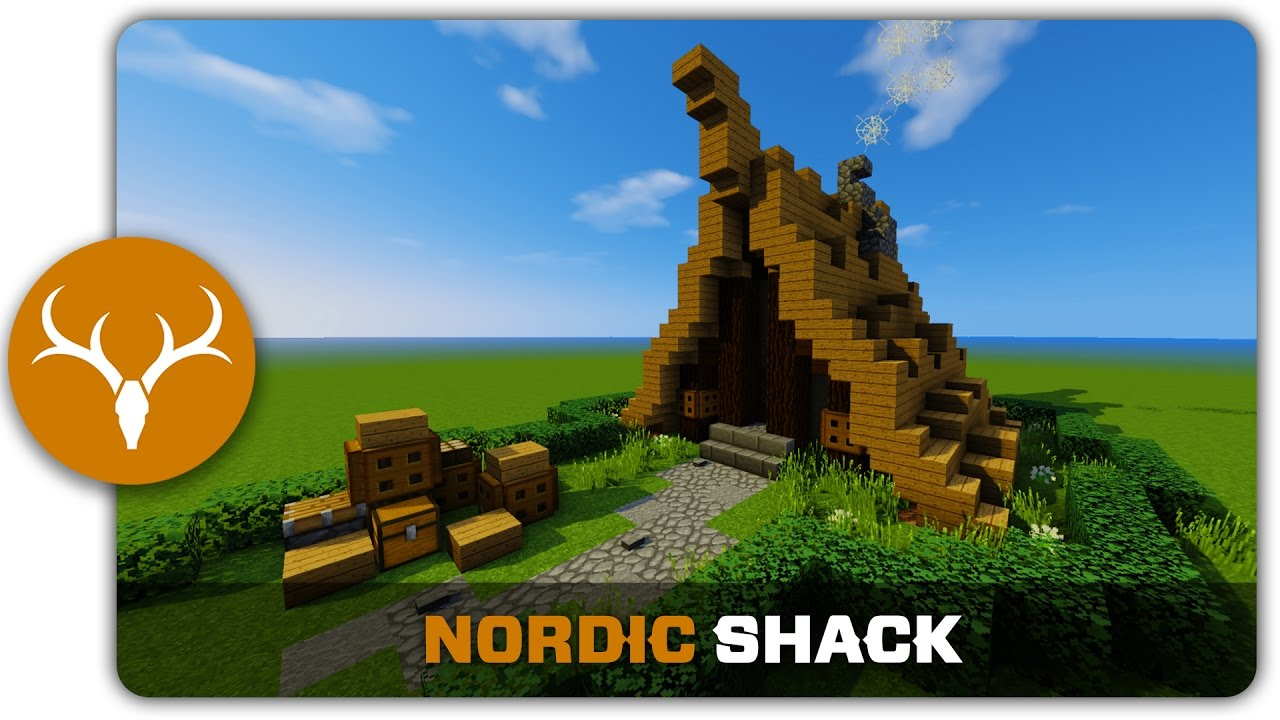 Minecraft building tutorial how to build a nordic shack for How to build a small shack