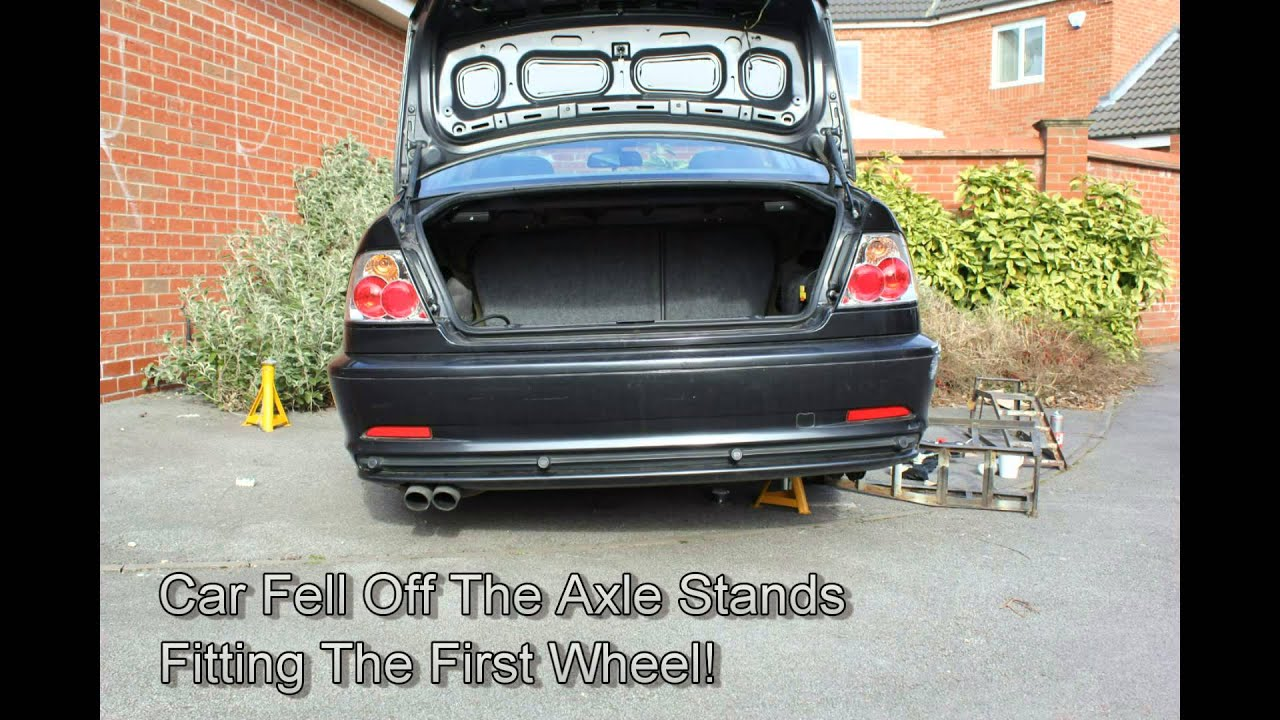 Bmw E46 330ci Falls Off Axle Stands With No Wheels On