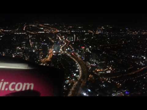 Тель-Авив. Вид из самолета ночью.